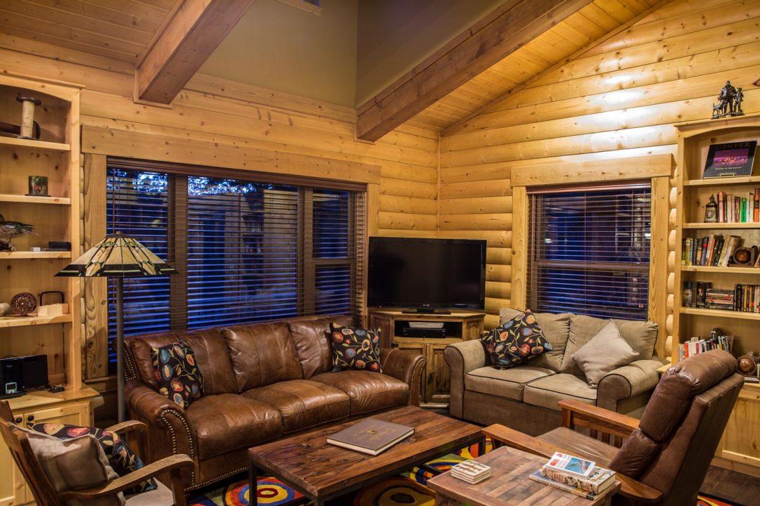 log home living room custom cabin highmark llc